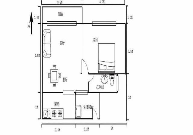 坪山区-金众蓝钻风景花园-1室1厅1卫-48㎡
